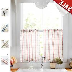 White Tier Curtains Kitchen, Red Taupe Check on White Sheer
