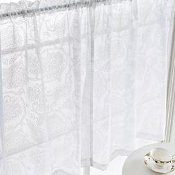 White Tier Curtains 36 inches Small Window Kitchen Curtains