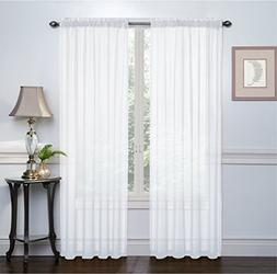 """HLC.ME White 2-Pack 54"""" inch x 63"""" inch Window Curtain Sheer"""