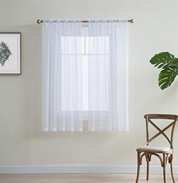 """HLC.ME White 54"""" inch x 45"""" inch Window Curtain Sheer Voile"""