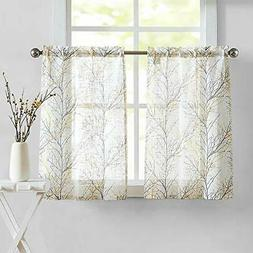 Fmfunctex White Yellow Kitchen Curtains for Bathroom Tree