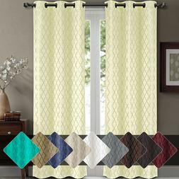 Willow Jacquard Thermal Insulated Blackout Curtains  84W x 6