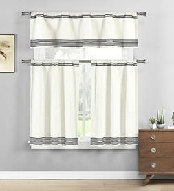 Home Maison Wilmont Striped Kitchen 3 Piece Window Curtain T