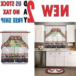 Window Curtain 57 in Tier Swag With Valance Country Rooster