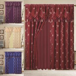 Window Curtain Blue Gold Linda Collection 2 PCS Set with Val