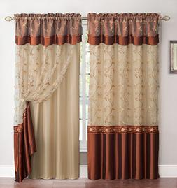 All-in-One Cinnamon and Gold Window Curtain Drapery Panel: D