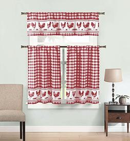 3 Piece Window Curtain Set: Gingham Check and Rooster Design