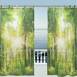 window curtain sheer panels forest