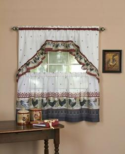 Window Curtain Tier Swag With Valance Country Rooster Curtai
