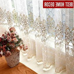 Window Curtains For Living Room  Floral Sheer Tulle For Bedr