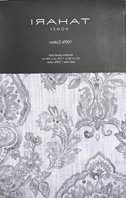 Tahari Window Panels Draperies Curtains Set of 2 Gray Floral