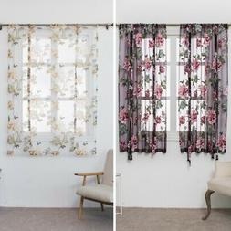 Kitchen Bathroom Window Roman Curtains Floral Sheer Voile Tu