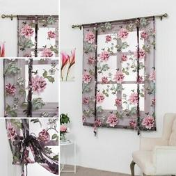 Roman Floral Curtain Kitchen Bathroom Window Sheer Voile Val