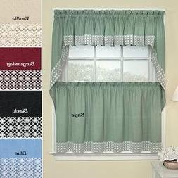 "Window Treatment Lacy Daisy Curtains-vanilla -Valance-60"" W"
