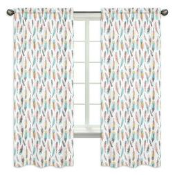 Window Treatment Panels For Sweet Jojo Grey Turquoise Coral