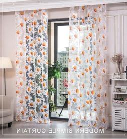 Window Tulle Curtain Yellow Floral Drape Panel for Living Ro