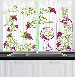 Ambesonne Wine Kitchen Curtains, Wine Bottle and Glass Grape