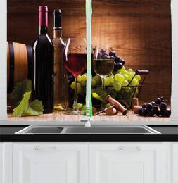 Ambesonne Wine Kitchen Curtains, Glasses of Red and White Wi