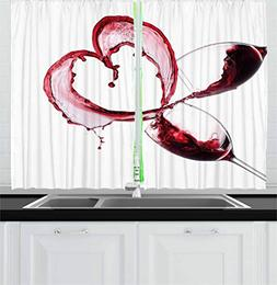 Ambesonne Wine Kitchen Curtains, Heart with Spilling Red Win