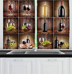 Ambesonne Wine Kitchen Curtains, Wine Themed Collage on Wood