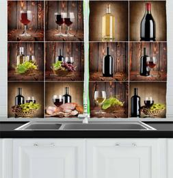 Ambesonne Wine Kitchen Curtains, Wine Themed Collage