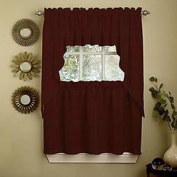 Wine Opaque Solid Ribcord Kitchen Curtains Choice of Tier Va