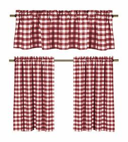 Wine Red White Gingham Checkered Design Kitchen Curtain, 3 P