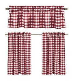 Wine Red White Kitchen Curtains: Gingham Checkered Plaid Des
