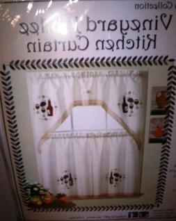 WINE THEMED EMBROIDED MULTI COLOR KITCHEN CURTAIN WINDOW TRE