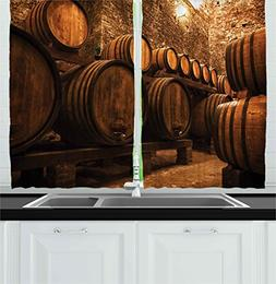 Ambesonne Winery Decor Collection, Barrels for Storage of Wi