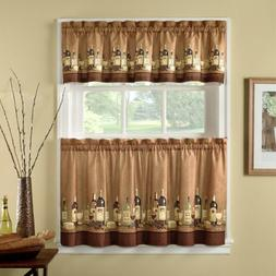 24-inch Length Wines Tailored Tier Curtain And Valance Set B