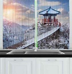 "Winter Kitchen Curtains 2 Panel Set Window Drapes 55"" X 39"""