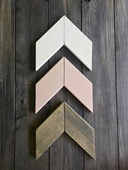 Wood Chevron Arrow Set - Dusty Rose Pink - Nursery Kids Room