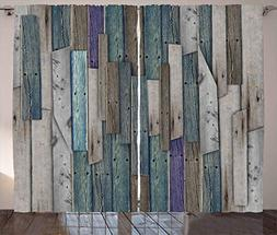 Ambesonne Rustic Curtains, Image of Blue Grey Grunge Wood Pl