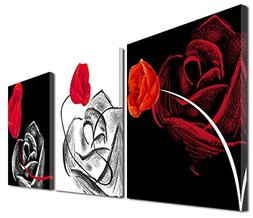 Mon Art 12In x 12In x3 Pics Black White Red Rose 3 Pieces Ca