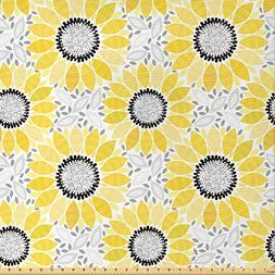 Ambesonne Yellow Fabric by The Yard, Colorful Illustration o
