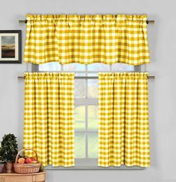 Yellow Gingham Checkered Plaid Kitchen Tier Curtain Valance