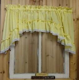 """Yellow Gingham Ruffled Swag Valance Curtain  82"""" Wide x 36 L"""