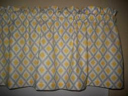 Yellow Gray Diamond Lattice Check stripe Kitchen fabric curt